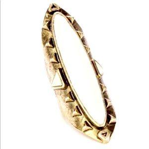 LOW LUV Erin Wasson gold enamel antique long ring
